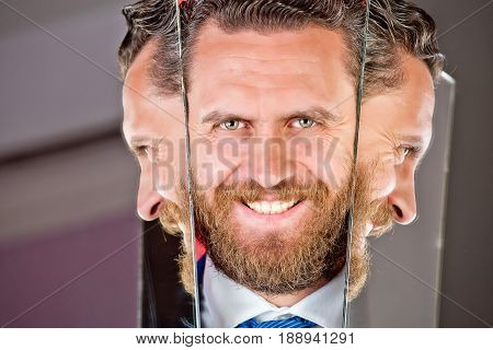 Happy Face Of Bearded Hipster Man Or Businessman Reflecting In Mirror
