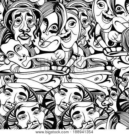 Hand drawn asians Buddhists people cartoon vector. seamless pattern