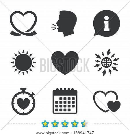 Heart ribbon icon. Timer stopwatch symbol. Love and Heartbeat palpitation signs. Information, go to web and calendar icons. Sun and loud speak symbol. Vector