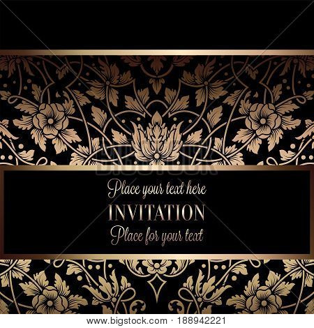 Floral Invitation Card Or Background With Antique, Luxury Black And Gold Vintage Frame, Victorian Ba