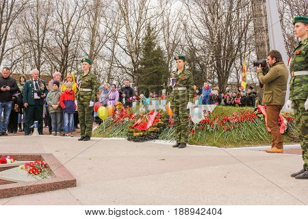 Kirishi, Russia - 9 May, The end of the ceremony and the imposition, 9 May, 2017. Laying wreaths and flowers in memory of the fallen at the Eternal Flame.