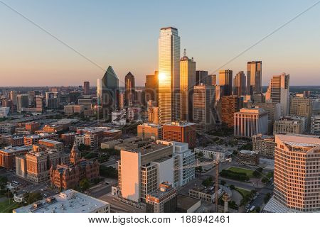 DALLAS, TX - MAY 13, 2017: Aerial view of Dallas Texas city skyline at sunset