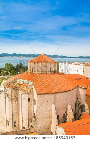 Saint Donatus (Sveti Donat) church in Zadar, aerial view, Dalmatia, Croatia