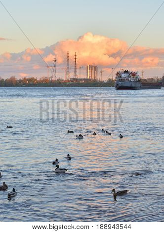 View of Neva river at evening outskirts of St.Petersburg Russia.