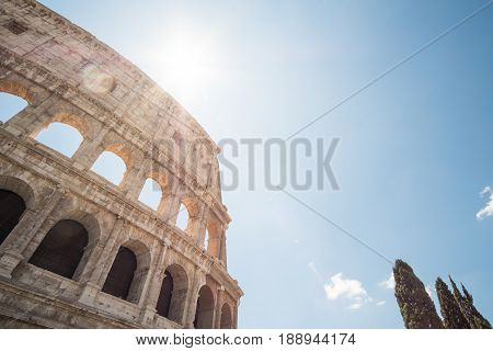 The Colosseum, An Oval Amphitheatre In The Center Of The City Of Rome, Italy. It Is The Famous Landm