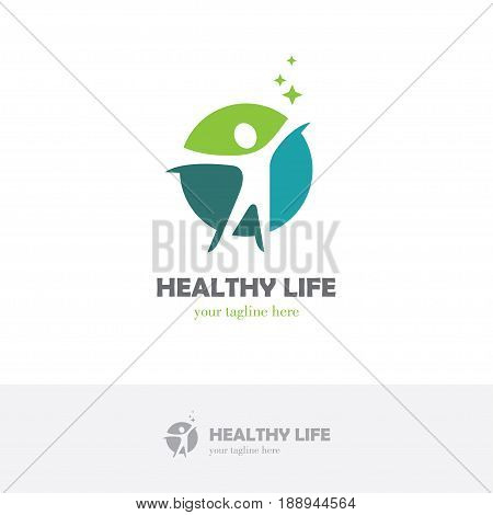 Abstract round symbol with happy human silhouette. Sport fitness medical or health care center logo design concept.