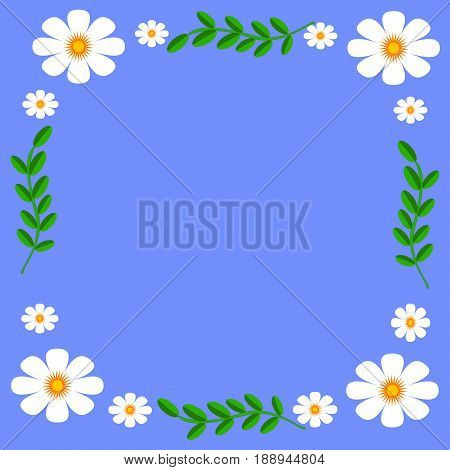 Flat design flowers background on white background