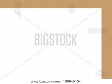 Rectangular horizontal background for text. A sheet of paper glued with adhesive tape. White gray brown color. Vector illustration.
