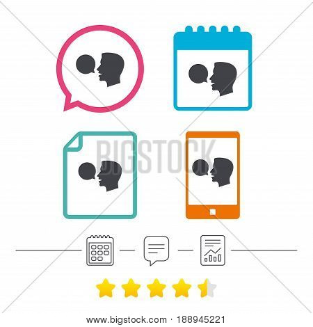 Talk or speak icon. Speech bubble symbol. Human talking sign. Calendar, chat speech bubble and report linear icons. Star vote ranking. Vector