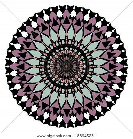 Symmetric geometric rosette in art deco style in muted ancient colors for vintage design