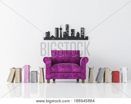 Modern white living room interior minimalist style image 3d rendering .There is purple armchair, shopping bags white wall and decorated wall with black metal work