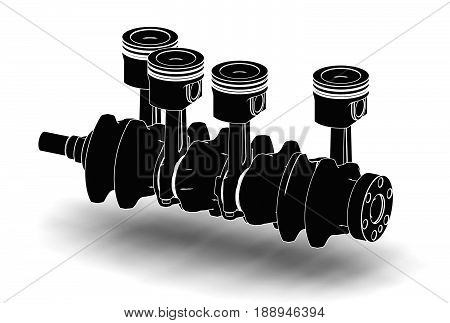 3d illustration of crankshaft with engine pistons isolated on white and metallic