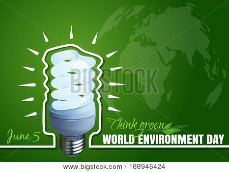 Typographic poster design for World Environment Day. 5 June. Environment Day card with Energy saving light bulb. Energy-saver style lightbulb on a green background. Vector illustration