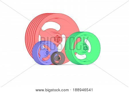 3d illustration of color sheaves isolated on white