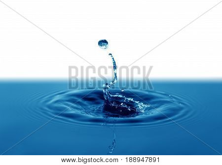 Nice abstract blue water splash on background with free space