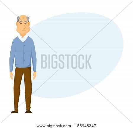 Sad old man stands. unhappy elderly man.