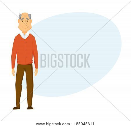 Happy old man stands. Smile elderly man.