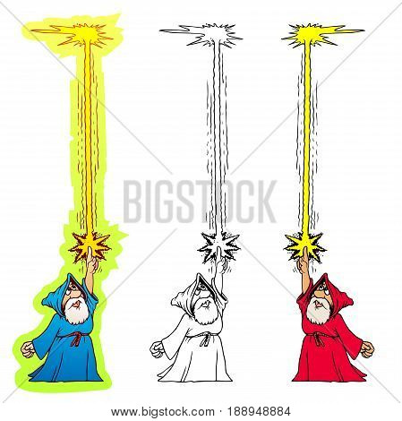 Cartoon wizard throwing a fire bolt at the ceiling. He knows a lot of magic, but is otherwise not too bright.