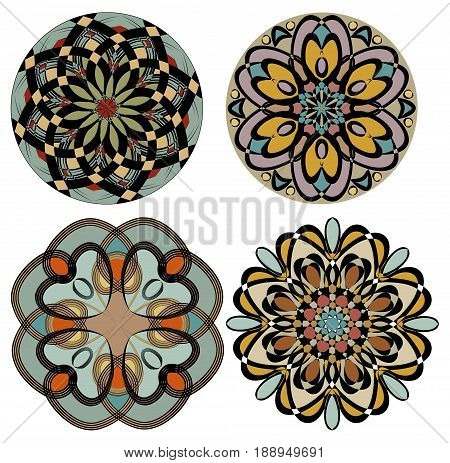 Collection of colored rosettes in nostalgic color art deco style. Symmetric geometric patterned circle.