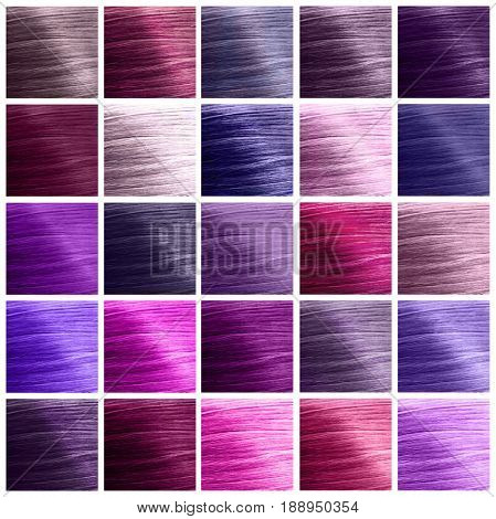 Trendy hairstyle ideas. Lilac color shades of hair as background