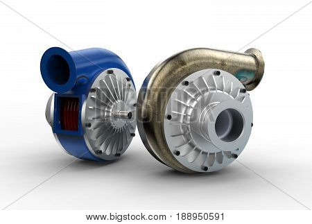 3D illustration of turbo pump isolated on white