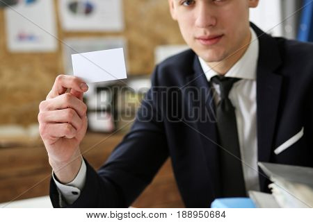 Businessman In Suit Hold In Hand Business Card