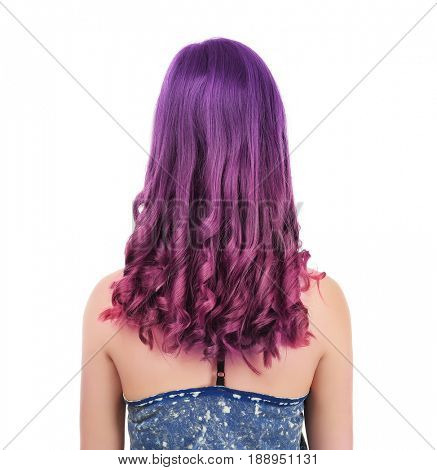Lilac color for trendy hairstyle ideas. Young woman with dyed hair on white background