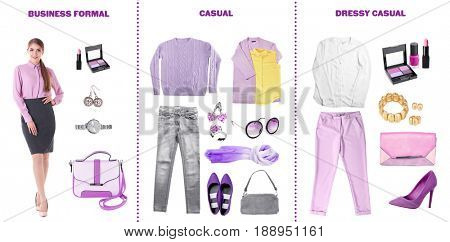 Lilac - color of 2017 year. Stylish clothes and accessories for different occasions on white background