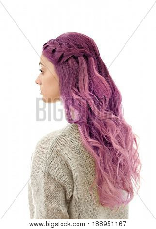 Lilac color for trendy hairstyle ideas. Young woman with dyed hair on white background poster