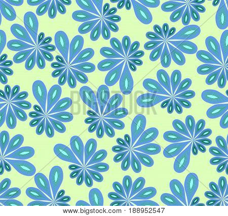 Background in abstract design with blue and green asymmetric fowers