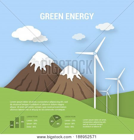 Paper art with shadow ecological banner green energy with windmills. Clean nature landscape and alternative energy sources and infographics. Vector illustration