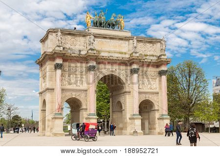 Paris, France, March 31 2017: The Arc de Triomphe du Carrousel is a triumphal arch in Paris, located in the Place du Carrousel