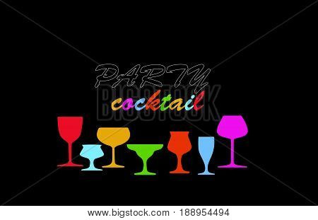 Cocktail party..Glasses to alcohol.Alcohol vector background..Template for drink card. Bottle of alcohol illustration.