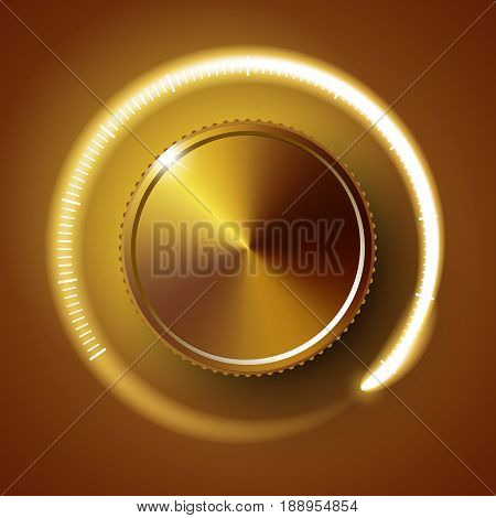 Volume Button, Sound Control, Music Knob With Metal Texture And Number Scale Isolated On Background