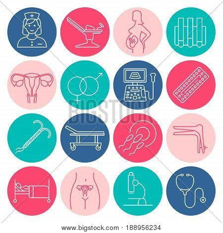 Vector gynecology symbols icon set. Pregnancy and childbirth, obstetrics, gynecology line icons. Fetus symbol. Diagnostic equipment, medical tools. Motherhood.