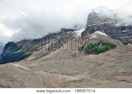 Glacier Along The Icefields Parkway Between Banff And Jasper In The Canadian Rockies