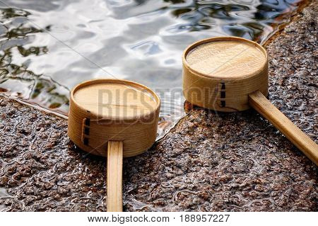 Japanese Wooden Ladles At Shinto Temple