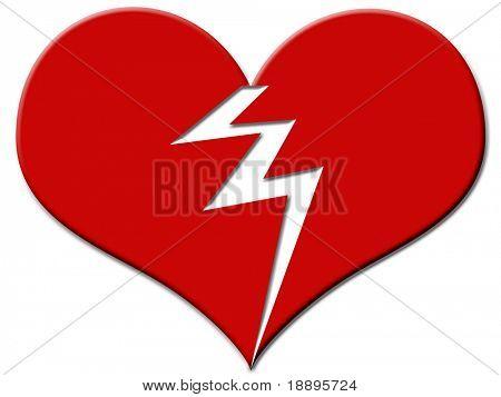 Grande rojo corazón roto