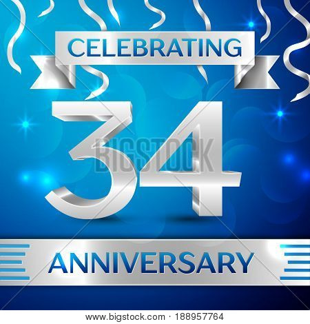 Thirty four Years Anniversary Celebration Design. Confetti and silver ribbon on blue background. Colorful Vector template elements for your birthday party. Anniversary ribbon