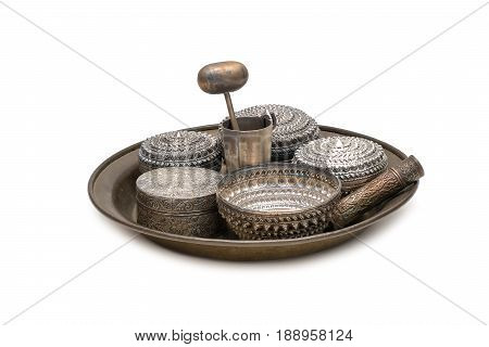 receptacle for betel silver bowl use to containing betel leaves and areca nuts ready for consumption. called in Thai