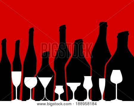 Wine background vector.Bottle of alcohol illustration.Design for wine.Glasses to alcohol.Alcohol vector background..Template for drink card.
