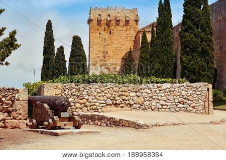 a view of the Archbishops Tower and the walls of Tarragona, Spain, much of which were built by the ancient romans