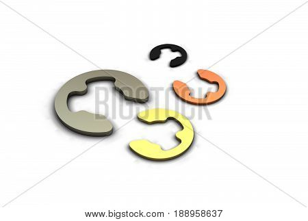 3D illustration isolated on white and metallic