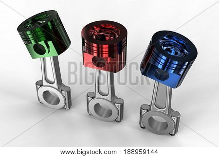 3d illustration of engine pistons on white and metallic background