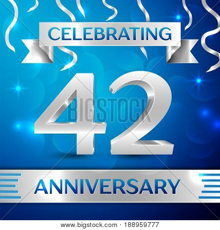 Forty two Years Anniversary Celebration Design. Confetti and silver ribbon on blue background. Colorful Vector template elements for your birthday party. Anniversary ribbon