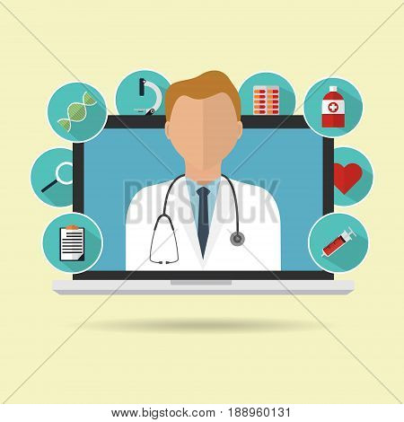 Doctor on internet online laptop for telemedicine with longs shadow medical icon. Vector illustration flat design medical healthcare concept technology trend.