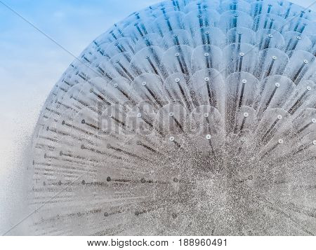 Beautiful circular fountain on blue sky background, Outdoor in the park