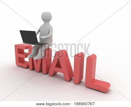 3d man with laptop sitting on EMAIL . rendered illustration