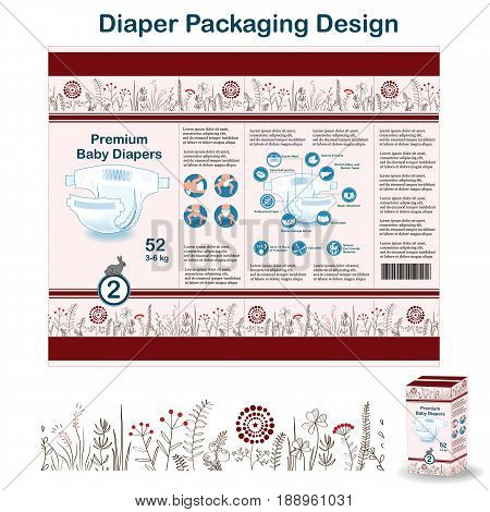 Diaper packaging design elements in doodle forest style. Nappy pakaging design for size 2, with floral border, diaper icons, and hare. Vector illustartion