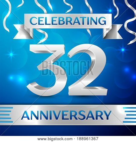 Thirty two Years Anniversary Celebration Design. Confetti and silver ribbon on blue background. Colorful Vector template elements for your birthday party. Anniversary ribbon